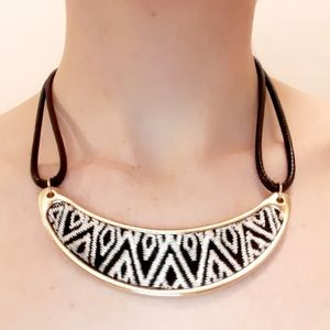 Ikat Pattern Embroidered Necklace